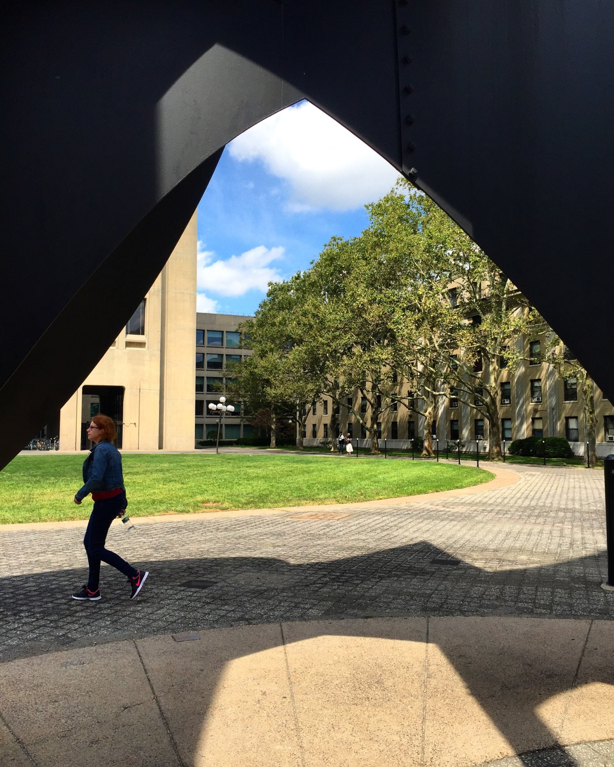 walking view on campus